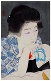 Torii Kotondo is known to have made only 21 prints - all of them images of bijin or beautiful women. They belong to the finest works of art of the Shin Hanga movement.<br/><br/>  Shin hanga ('new prints') was an art movement in early 20th-century Japan, during the Taishō and Shōwa periods, that revitalized traditional ukiyo-e art rooted in the Edo and Meiji periods (17th–19th century).<br/><br/>  The movement flourished from around 1915 to 1942, though it resumed briefly from 1946 through the 1950s. Inspired by European Impressionism, the artists incorporated Western elements such as the effects of light and the expression of individual moods, but focused on strictly traditional themes of landscapes (fukeiga), famous places (meishō), beautiful women (bijinga), kabuki actors (yakusha-e), and birds and flowers (kachōga).